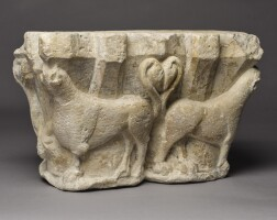 4. spanish, catalonia, late 12th century | double capital withbeasts