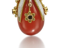 315. a jewelled gold, enamel and hardstone egg pendant, odessa, 1908-1917