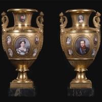 24. an important pair of royal portrait gold-ground porcelain armorial vases, the porcelain paris, the decoration naples, attributed to raffaele giovine  