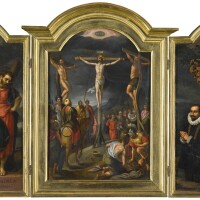 126. gillis mostaert | a triptych:central panel: the crucifixionleft wing: saint andrewrightwing: a kneeling male donor of the escalera family