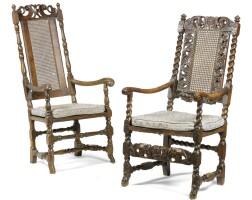 6. a charles ii walnut open armchair
