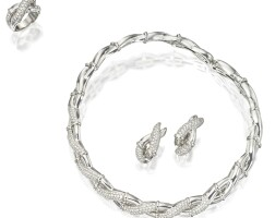 119. suite of 18 karat white gold and diamond jewelry, retailed by neiman-marcus