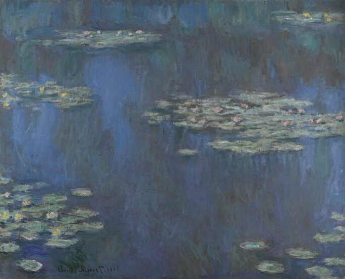 Painting of waterlilies on a deep purple-blue lake.