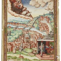 10. venus in her chariot over a view of rome, full-page miniature [italy, c.1540]