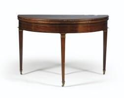 204. table à jeux en placage d'acajou de style louis xvi, seconde moitié du xixe siècle