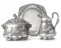 92. the tam o' shanter service: an american silver soup tureen and cover, water pitcher and serving platter, s. kirk & son co., baltimore, early 20th century