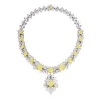 1912. 彩黃色鑽石配鑽石項鏈