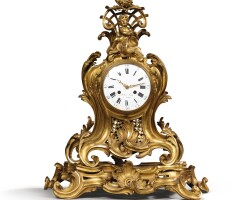 47. a louis xv gilt-bronze mantel clock after a model by jean-joseph de saint-germain  