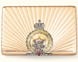 35. a jewelled vari-coloured gold cigarette case, in the style of fabergé, 20th century   a jewelled coloured gold cigarette case, ?fabergé, workmaster a. hollming, st petersburg, 1908-1917