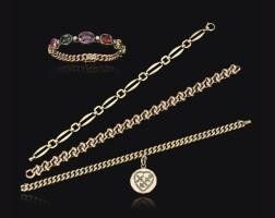 28. gem set and diamond bracelet and three gold bracelets