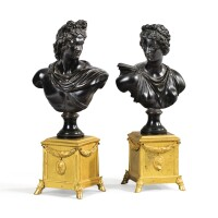 12. after the antique, french, early 18th centurypair of busts of apollo and diana, |