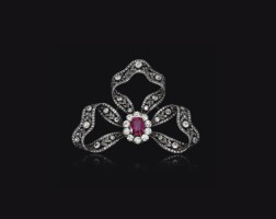 80. fine ruby and diamond brooch/hair ornament, bachruch, circa 1900