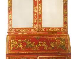 10. a george i parcel-gilt scarlet-japanned desk and bookcase