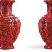 3640. 清乾隆 剔紅開光山水人物圖海棠式瓶一對  