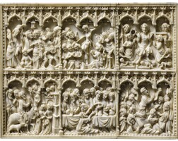 7. german, late 14th century, | elements from a diptych with scenes from the life of christ