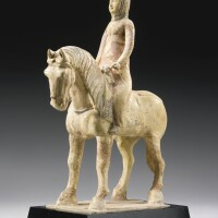 16. a straw-glazed and cold-painted figure of an equestrienne tang dynasty