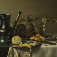 47. pieter claesz.   still life with a 'jan steen' jug, a peeled lemon on a pewter plate, bread, a knife, olives on a pewter plate, grapes, a glass and nuts, all on a table partly draped with a white cloth