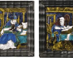 4. léonardii limosin, limoges, early 17th centurysaint jerome and a pope, | saint jerome and a pope