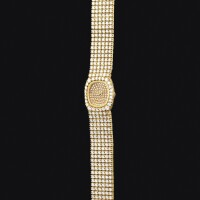 2040. 愛彼 | 黃金鑲鑽石錬帶腕錶,錶殼編號c17545,年份約1986。