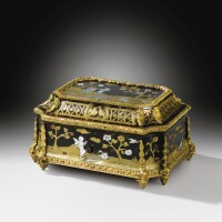 10. a louis xiv gilt-bronze mounted tortoiseshell,mother-of-pearl, stained horn, brass and pewter marquetry casket, circa 1700-1710 |