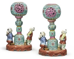 546. a rare pair of turquoise-ground famille-rose hat stands qing dynasty, jiaqing / daoguang period |
