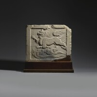 4. a very rare white marble 'mythical beast' stone panel early tang dynasty |