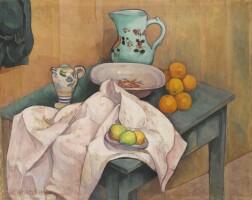 168. émile bernard   nature morte au pichet et aux fruits sur une serviette deployée