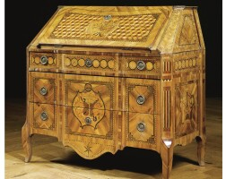 204. a fine and attractive west german walnut and fruitwood marquetry and parquetry bureau-secrétaire, probably middle rhine late rococo/neoclassical, circa 1770
