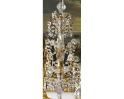 2. a pair of french gilt-bronze amber and amethyst cut-glass five light girandoles in 18th century style