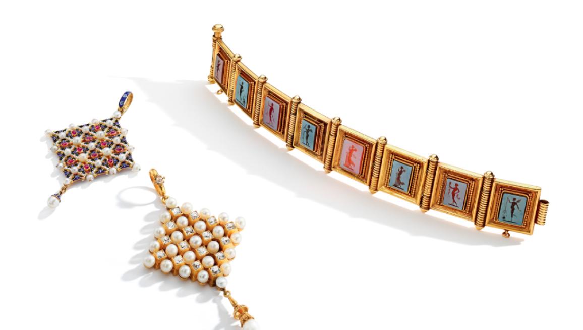 Renaissance Revival Intaglio bracelet and pendants.png