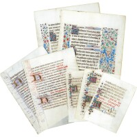 35. seven leaves from books of hours, in dutch, french, and latin