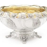 73. chrysanthemum pattern silver punch bowl, tiffany & co., circa 1895