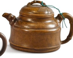 1204. a yixing 'bamboo' teapot and cover, signed chen yuanwei qing dynasty / early20th century |