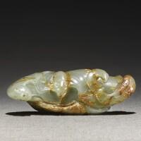 226. a celadon and russet jade 'wufu' brushrest 17th / 18th century |