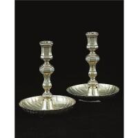 6. a pair of royal german silver-gilt gaming candlesticks, franz heinrich hannover, magdeburg, circa 1740