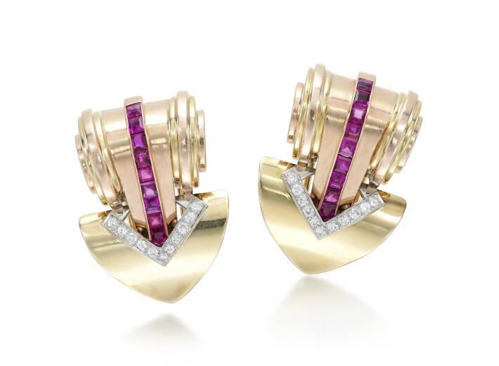 Tiffany & Co ruby diamond clip brooches