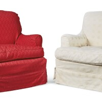 46. a matched pair of upholstered armchairs by howard & sons, 20th century