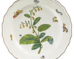 9. a chelsea porcelain 'hans sloane' botanical plate circa 1755