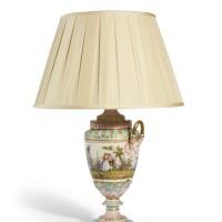 48. a berlin porcelain two-handled lamp, circa 1880