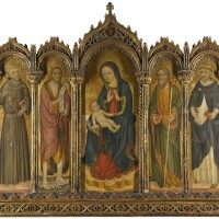 111. venetian school, 15th century | polyptych: madonna and child, with saints francis of assisi, john the baptist, james [?] and anthony of padua
