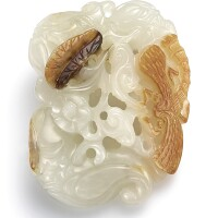 3738. a reticulated white jade 'water caltrop' group qing dynasty, 18th century |