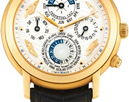 38. audemars piguet | jules audemars métropolis, reference 25919 a pink gold perpetual calendar worldtime wristwatch with 24 hours andleap year indication, circa 2002