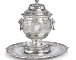21. an american silver covered punch bowl on stand, gorham mfg. co., providence, ri, retailed by grogan co., pittsburgh, dated 1923 |