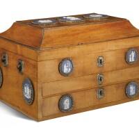 309. a george iii polished steel and jasperware mounted mahogany document box circa 1785