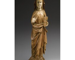 284. a spanish painted pinewood figure of saint anne, mid 14th century