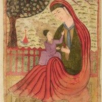 204. an illustration from a series of omens and interpretations of dreams: the virgin and child, mughal, circa 1580