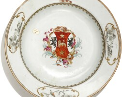 306. a chinese export armorial soup plate, qing dynasty, qianlong period, circa 1745 |