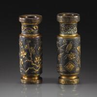 171. 明十七世紀 局部鎏金銅花卉圖小瓶 及 局部鎏金銅博古圖小瓶 一件 :《胡文明製》款