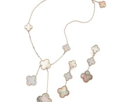 1. chalcedony and mother-of-pearl 'magic alhambra' necklace and pair of earclips, van cleef & arpels