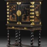20. a german baroque gilt-brass mounted black and gilt lacquer cabinet on stand bygérard dagly, berlin, circa 1695